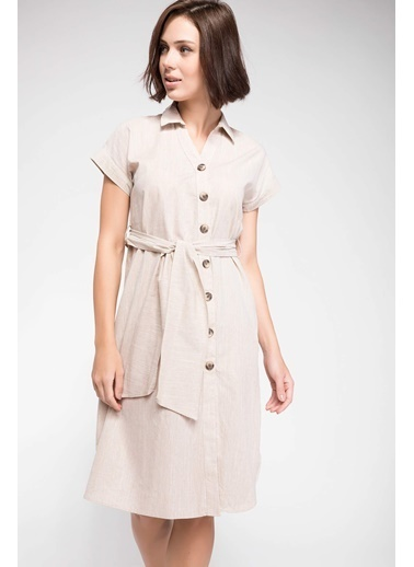 DeFacto Kuşak Bağlamalı Gömlek Elbise  Ekru
